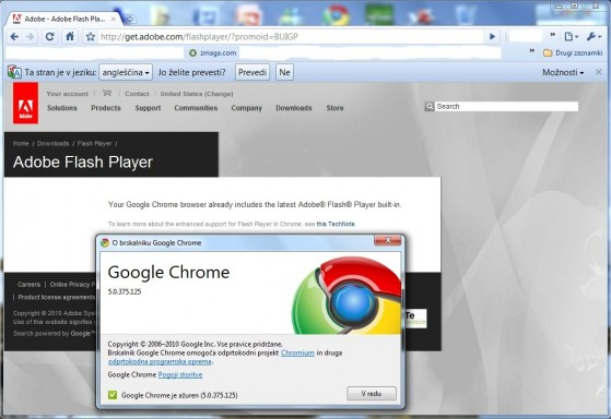 Google Chrome 5 - vgrajen Flash Player